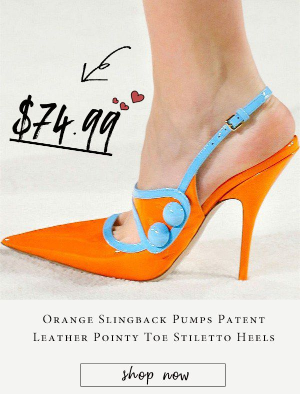 8d6b0240a29 Orange and Light Blue Pointy Toe Stiletto Heels Slingback Pumps Shoes Chic  Fashion Prom Shoes Fall and Winter Fashion Trendy High Heels Shoes Elegant  ...