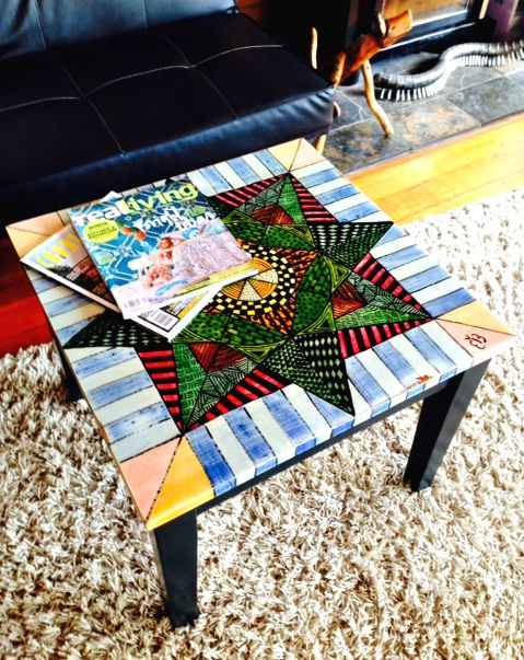 Functional Furniture-Art:  I love old vintage furniture and love painting it bright modern funky colours. This is my latest painted furniture design.  This coffee table design was inspired by triangles and geometric shapes. Check out my Facebook Page for more news from Bronnie Brasch Designs.