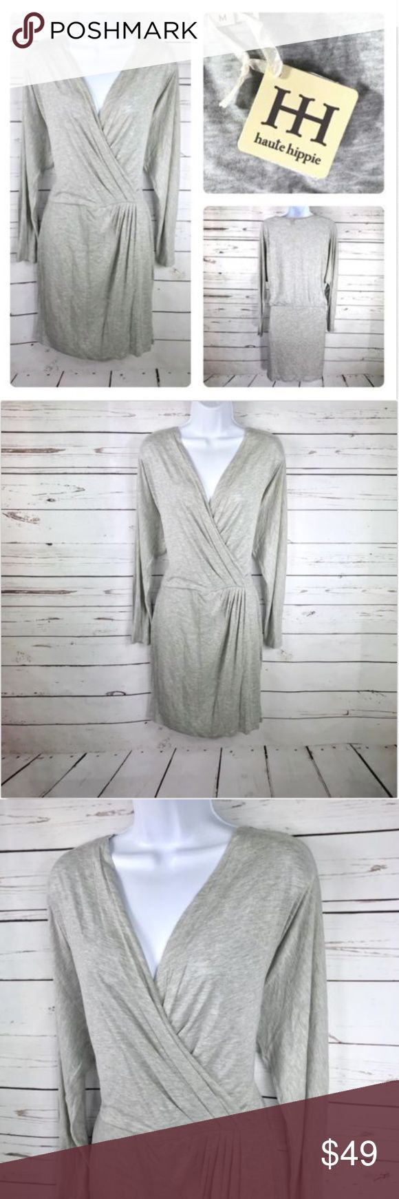 Haute Hippie Gray Faux Wrap Jersey Knit Dress Size: Medium  Materials: 100% Modal  Measurements (approximate) Length: 37 Inches Underarm to underarm (laying flat): 21 Inches Waist: 14 Inches (elastic)  Condition: New with tags. No holes, rips, or stains. Haute Hippie Dresses Long Sleeve
