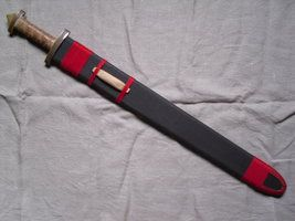 Red and brown Migration Period sword scabbard by enrico-ors-91