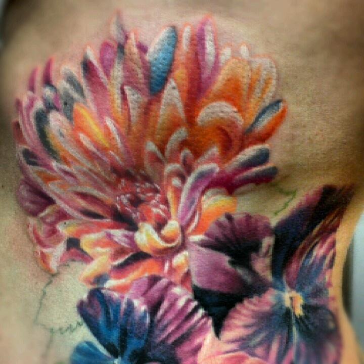 Chrysanthemum tattoo love the contrast and depth of this tatt