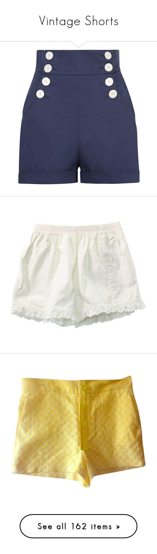 """Vintage Shorts"" by mickjaggerismydrug ❤ liked on Polyvore featuring shorts, bottoms, pants, short, navy sailor shorts, high waisted navy shorts, high waisted shorts, sailor shorts, high waisted pinup shorts and clothing - shorts"