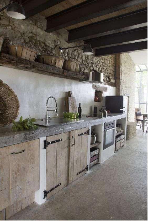 Ideen für die Einrichtung der Küche im rustikalen Stil – Küche aus Mauerwerk #rustickitchen