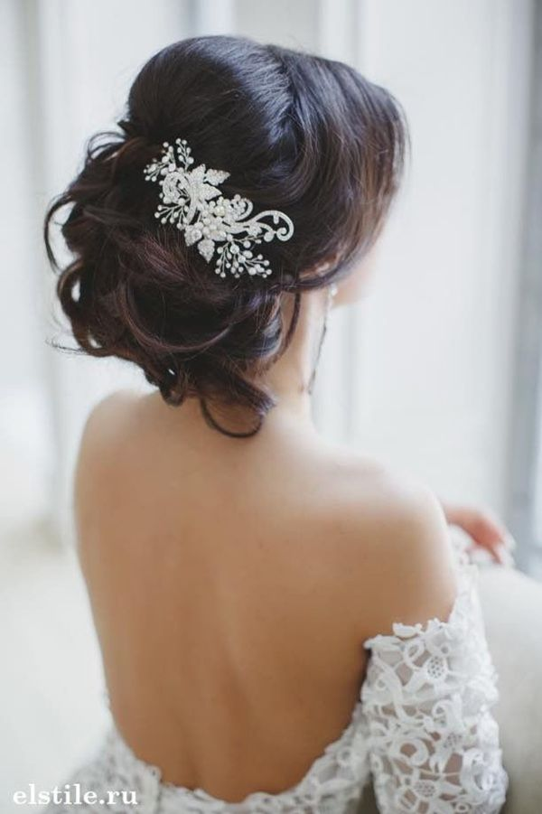 Hairstyle Ideas for Wedding Hairstyle with Jewels: Hairstyle with Beautiful Roses: Cute Bridal Updo: Elegant Updo for Long Hair: Pretty Back Crown Braids: Romantic Flower Crown: Cute Wedding Updo: Vintage Wedding Updo: Flower Bridal Updo: Bridal Flower Crown: Crown Braids: Image Source