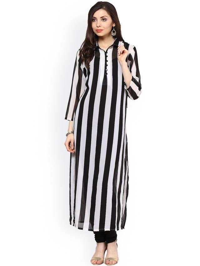 La Firangi Black Amp White Striped Kurta Tops Pinterest