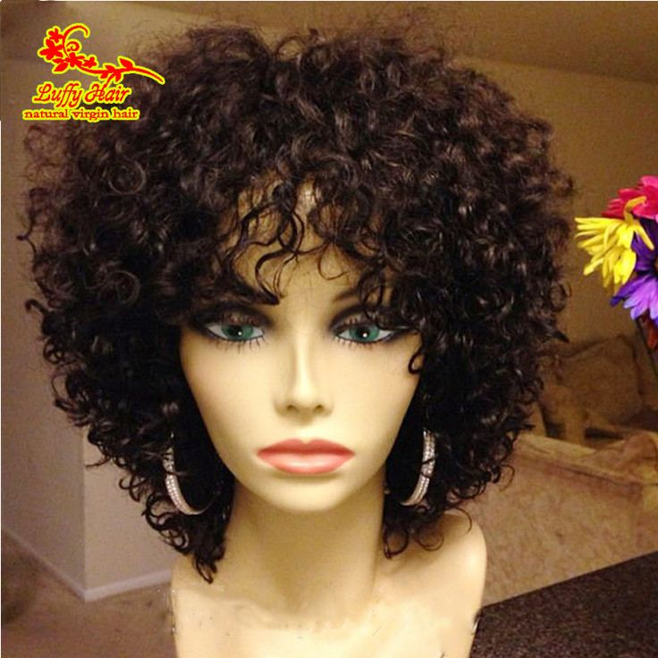 Grade 8a virgin human hair lace wig brazilian kinky curly full lace wig / short lace front wigs for black women with baby hair