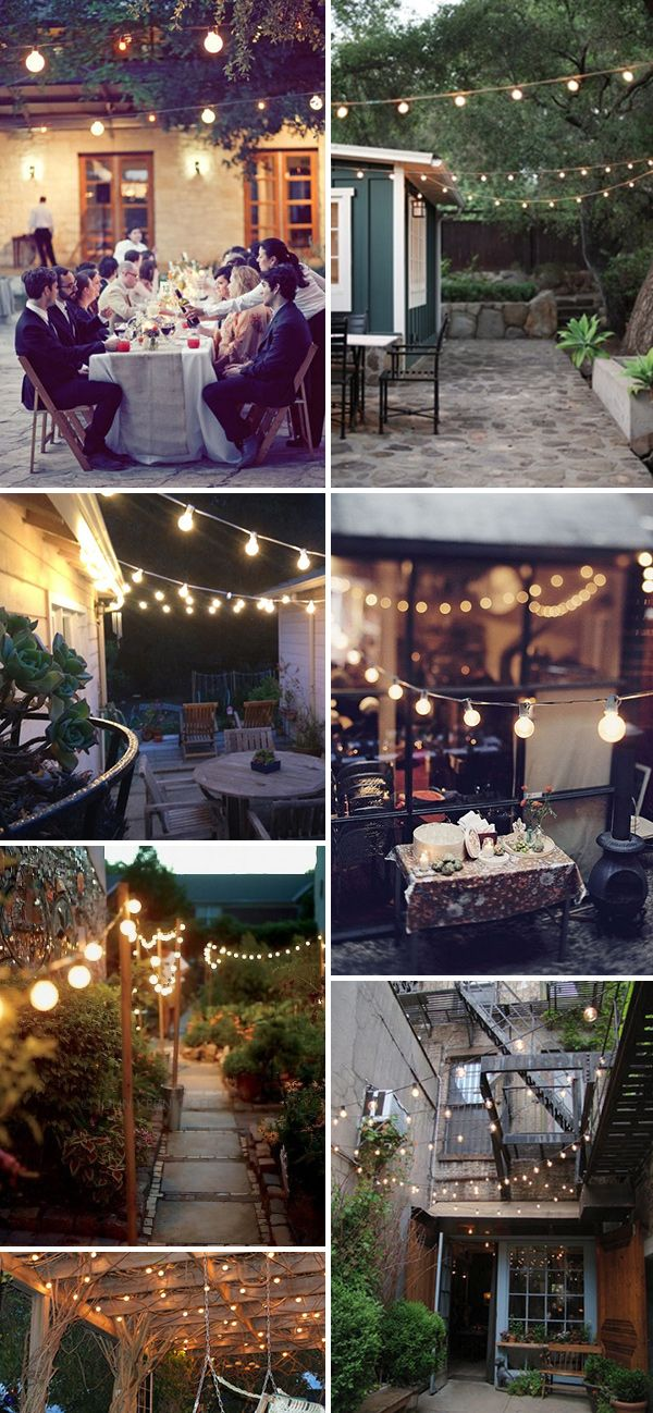 String lighting for the garden. Love this!