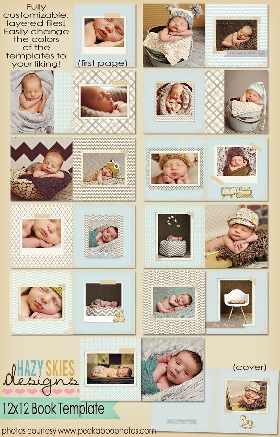 Book  Album template for photographers by hazyskiesdesigns on Etsy, $35.00