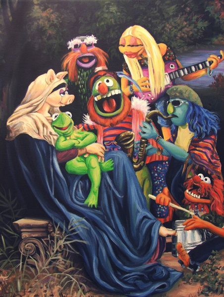 """Song Of The Electric Mayhem by Hillary White. Based on William Bouguereau's """"Song Of The Angels"""""""
