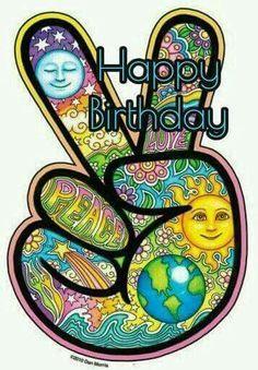 Hippie Peace Happy Birthday Quote                                                                                                                                                                                 More