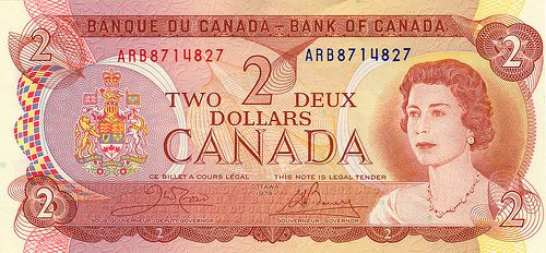 back in the day: Canadian Two dollar bill