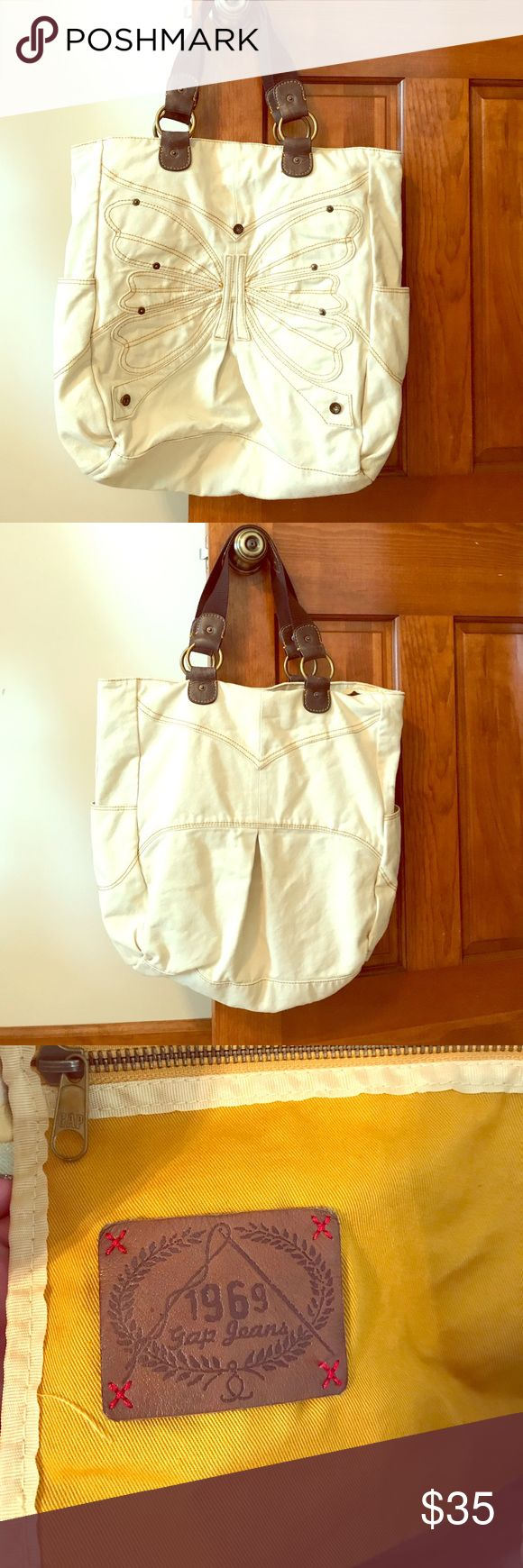 [GAP] Oversized Tote Bag Oversized GAP tote/bag! Off white with butterfly embroidered on the front! Leather and canvas. GAP Bags Totes