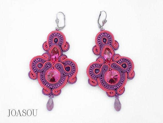 Big bold statement earrings pink chandelier by JoasouDesign