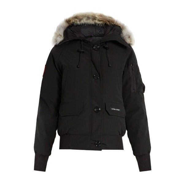 Canada Goose Chilliwack Fur Trimmed Down Bomber Jacket ($750) ❤ liked on Polyvore featuring outerwear, jackets, bomber jacket, canada goose, blouson jacket, flight jacket and bomber style jacket