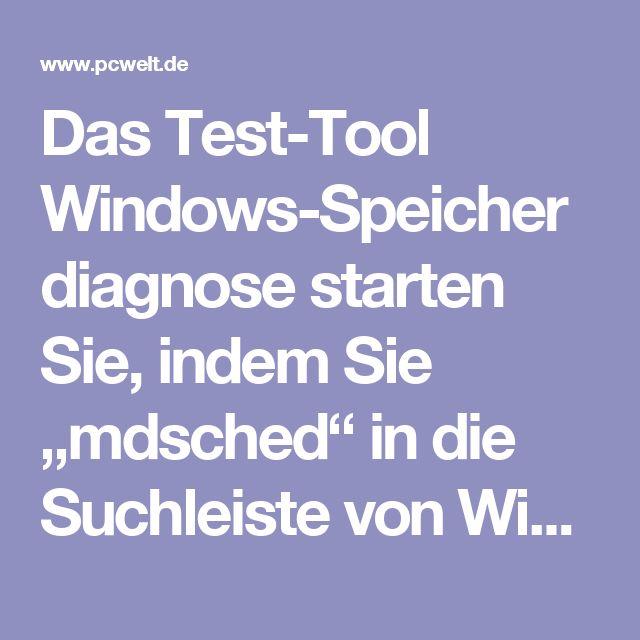 """Das Test-Tool Windows-Speicherdiagnose starten Sie, indem Sie """"mdsched"""" in die Suchleiste von Windows  eingeben und auf das Suchergebnis klicken. Für einen Speichertest muss Windows neu starten: Sie können ihn sofort durchführen oder wenn Sie das System das nächste Mal neu starten.  Nach dem Neustart startet das Tool mit einem blauen Bildschirm mit weißer Schrift. Der Standardtest startet sofort. Sie können ihn mit der Taste F1 abbrechen und das Optionsmenü aufrufen. Es bietet…"""
