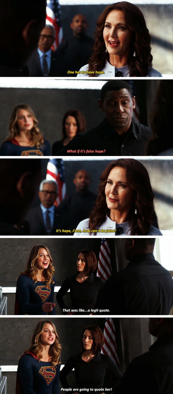 """""""People are going to quote her!"""" - Kara, President Marsdin, Alex and J'onn #Supergirl"""
