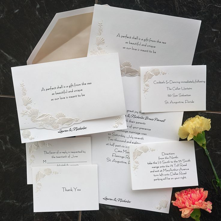 Romantic Shells Wedding Invitations  The American Wedding http://www.theamericanwedding.com/romantic-shells-wedding-invitations.html