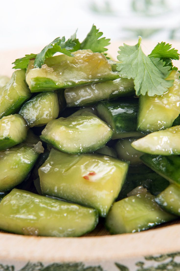 In China, cucumbers are considered the ideal foil for hot weather and hot food Versions of this salad, pai huang gua, are served all over the country, sometimes spiked with dried chiles and Sichuan peppercorns for more dimensions of flavor In Beijing, people buy whole chilled cucumbers from street vendors and munch them on the go, much as Americans become attached to their cups of iced coffee in summer
