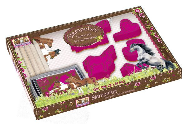 HORSE FRIENDS STAMP SET - This large Horse Friends stamp set contains five shaped stamps made from foam rubber (EVA), a stamp pad, large writing pad and five colour pencils.
