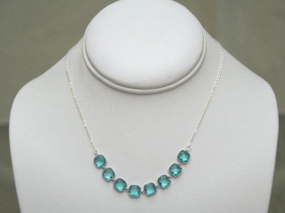 Sterling Silver Sea Green Necklace Sea Green by BellaJewelsInc, $42.00