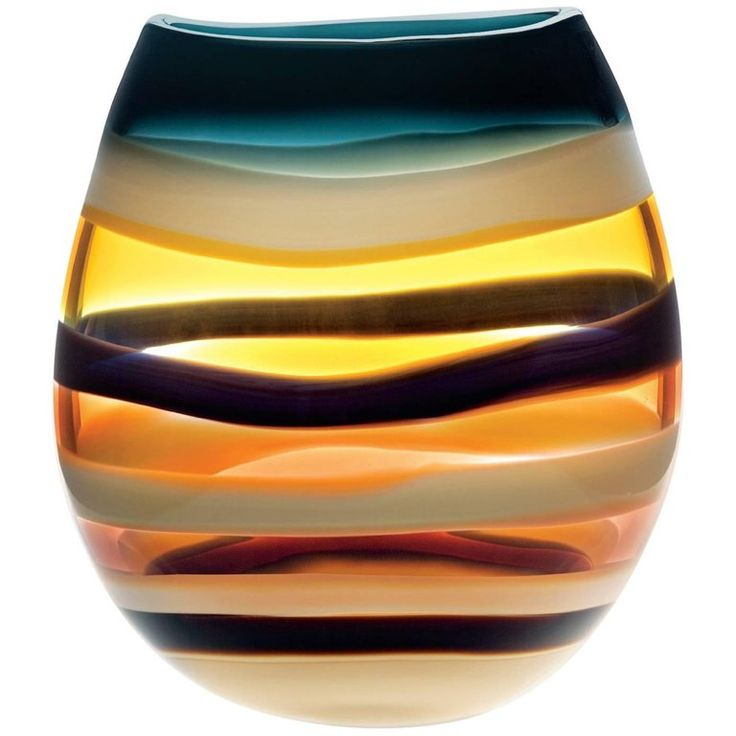 Large Amber Hand Blown Glass U Vase by California Designer Caleb Siemon   From a unique collection of antique and modern vases and vessels at https://www.1stdibs.com/furniture/decorative-objects/vases-vessels/