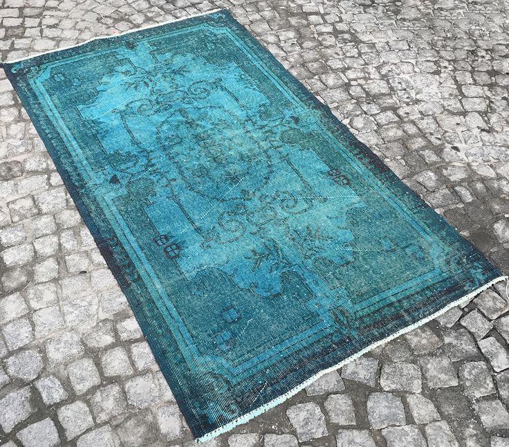 Famous Turquoise Color Rug Bohemian Blue Turkish Antique