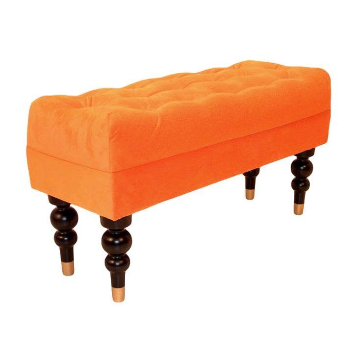Dahlia bänk plysch orange | Fotpallar & puffar - Fåtöljer - Möb En färgklick kanske?
