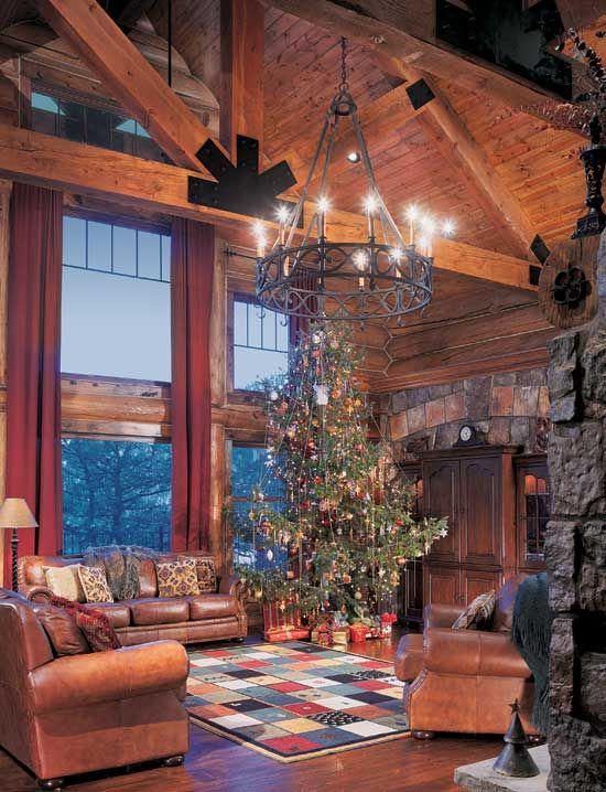 Everything about this log cabin loving room is screams perfect