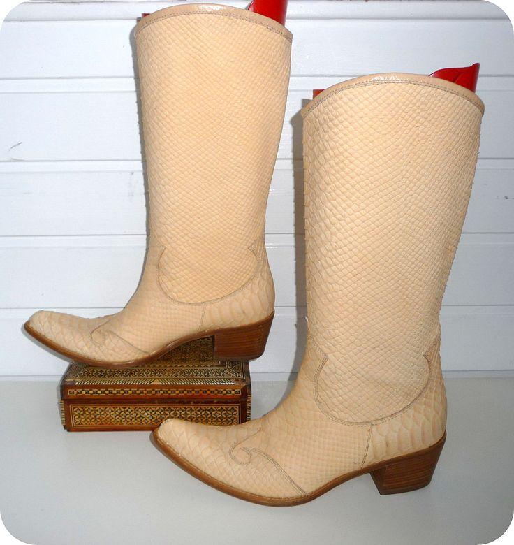 COCCINELLE Cowboy Stiefel Leder Leather Boots EU 37 UK 4 US 6,5 Snake Schlange in Kleidung & Accessoires, Damenschuhe, Stiefel & Stiefeletten   eBay