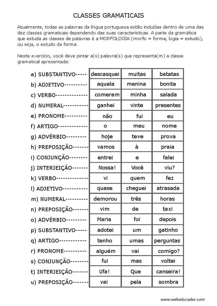 análise morfológica - classes gramaticais - marcar