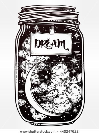 Hand drawn romantic wish jar with night sky moon and stars. Vector illustration isolated. Tattoo design, magic symbol for your use. Coloring book page. Label has a message to dream on it.