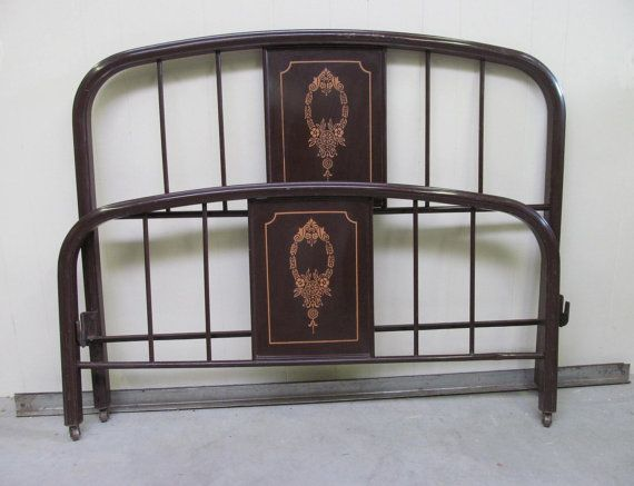Vintage 1920s Painted Metal Bed Frame Full by RanchQueenVintage