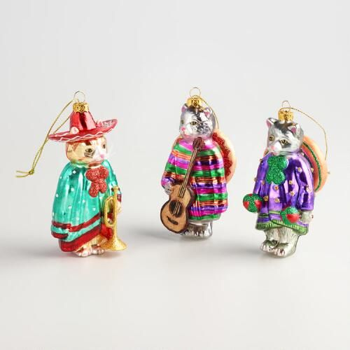 Glass Mariachi Cat Ornaments