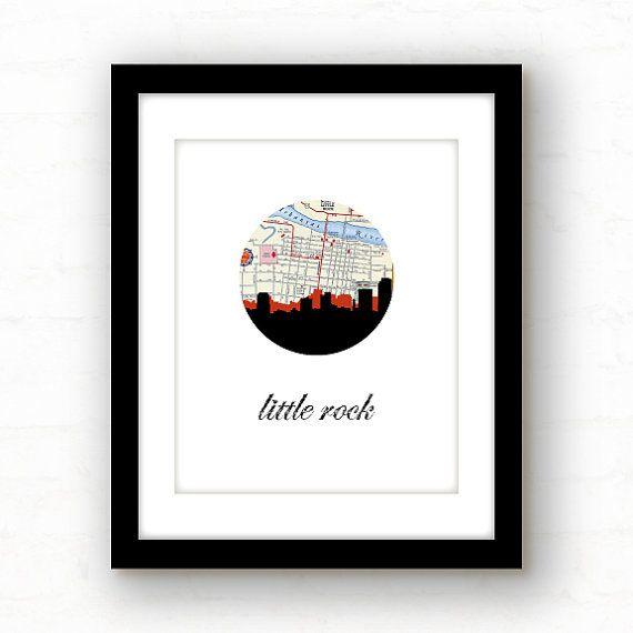 little rock arkansas // little rock skyline // by PaperFinchDesign