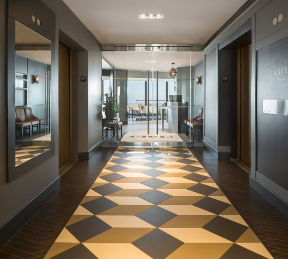 LEMAYMICHAUD | CIEL | Québec | Architecture | Design | Restaurant | Eatery | Hospitality | Bistro | Bar | Natural light | View | Sky | Lobby | Glass Door | Tiling | Lighting | Tiles | Architectural Glass