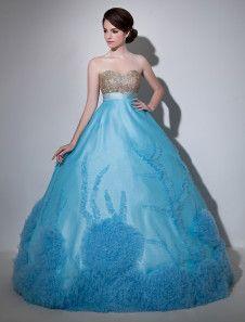 Vestido para quinceañeras de organza de agua azul con escote en corazón sin mangas con flor de lujo