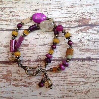 Pink And Mustard Glass & Stone Beaded Bracelet
