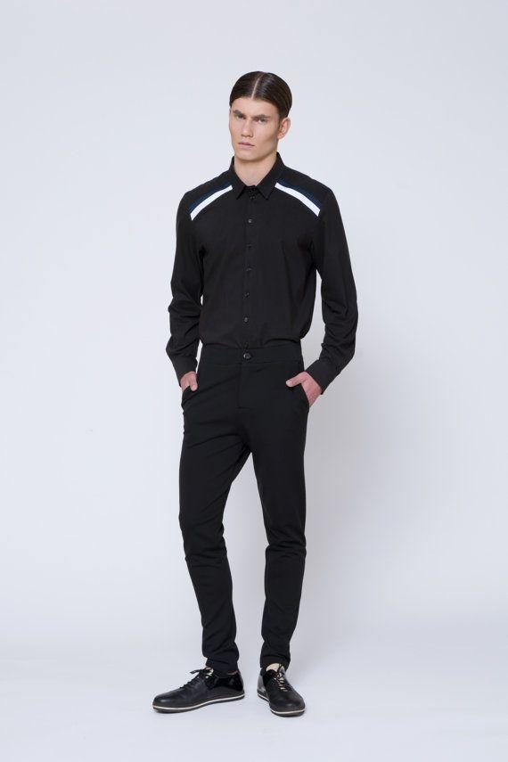 Mens Pants Skinny Pants Jersey Pants Black Pants by EliranNargassi