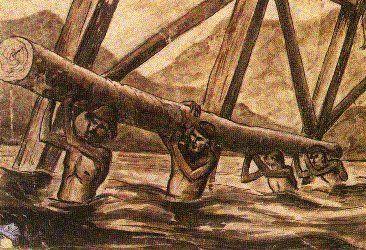 Leo Rawlings, FEPOW artist. Inserting pylons for bridges on the Thailand-Burma Railway.