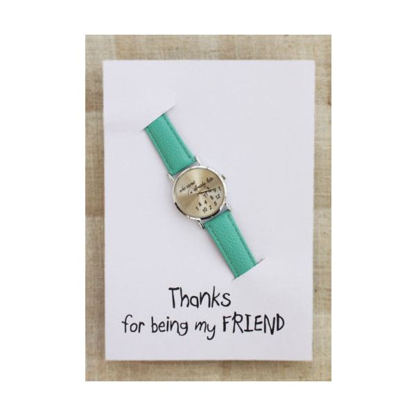 Elephant Pu Thanks Being My Friend Green Mint Gift Hippie Teen Girl... ❤ liked on Polyvore featuring jewelry, watches, leather-strap watches, mint watches, elephant jewelry, hippie watches and unisex watches