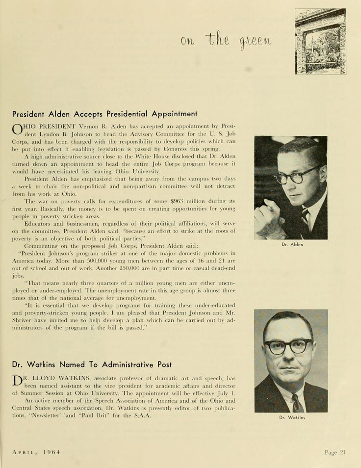 """The Ohio Alumnus, March 1964. """"Ohio University President Vernon R. Alden has accepted an appointment by President Lyndon B. Johnson to head the Advisory Committee for the U.S. Job Corps."""" :: Ohio University Archives"""
