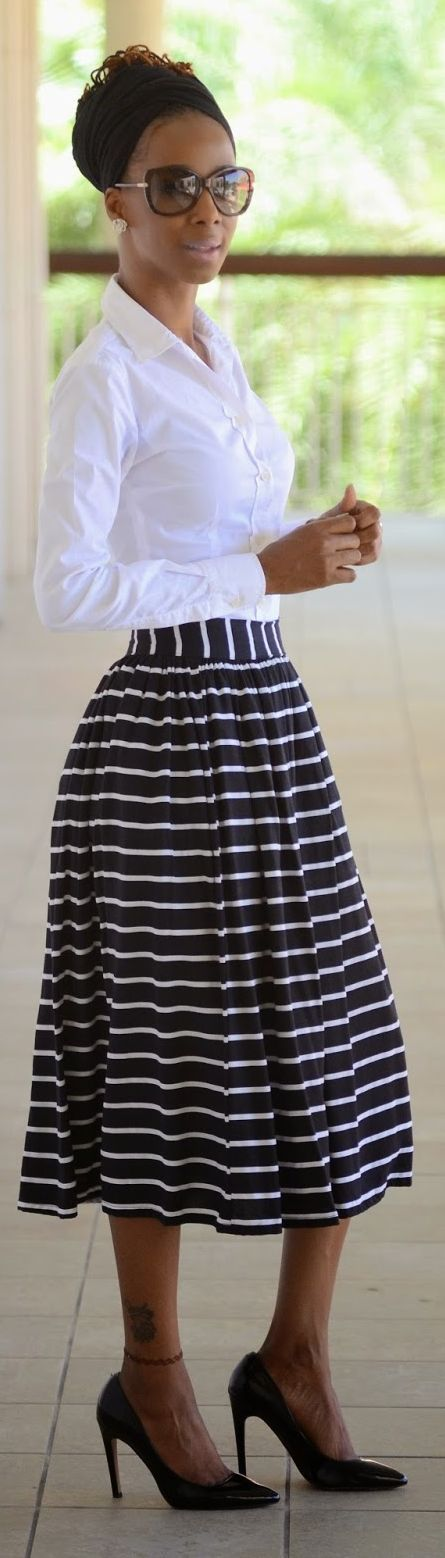 Black And White Striped Mini Skirt by Shades n Styles