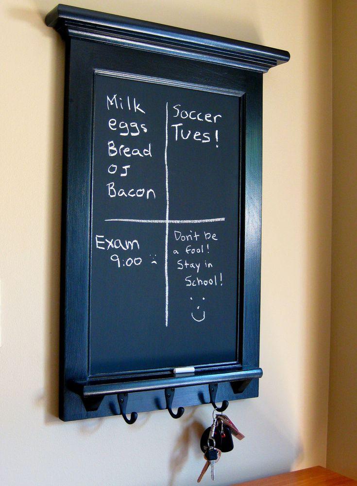 Chalkboard Organizer with Shelf - Wood  Framed Furniture Key Hook Organizer for your Kitchen, Office, or Vestibule from Rozemake. $140.00, via Etsy.