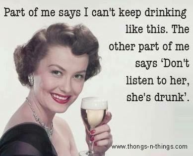 Don't listen to her she's drunk - vintage retro funny quote