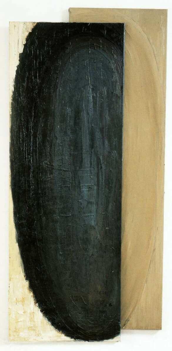 Birkás Ákos: Fej, 51. (1990, vászon, olaj, 200 x 60 cm)