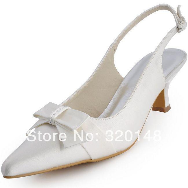 Женские туфли новый белый EL-043B острым носом горный хрусталь с бантом Slingback 2.5  золотник каблук атласные женские свадебные сандалии