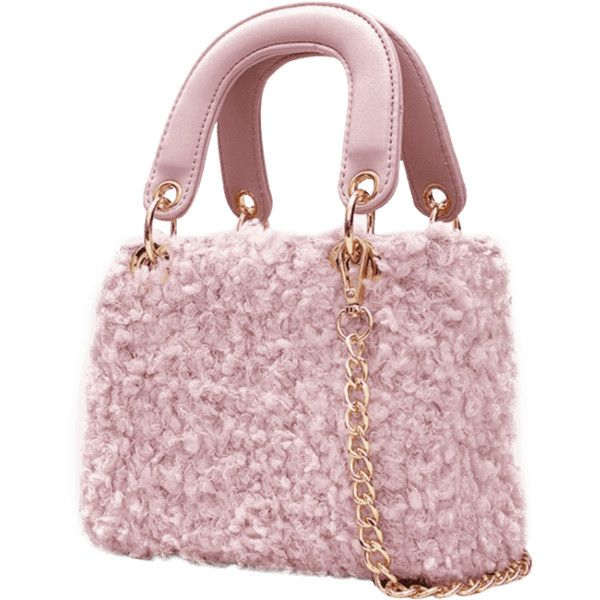 Chain Faux Fur Handbag With Strap Pink ($25) ❤ liked on Polyvore featuring bags, handbags, shoulder bags, shoulder handbags, hand bags, shoulder bag purse, pink purse and man shoulder bag