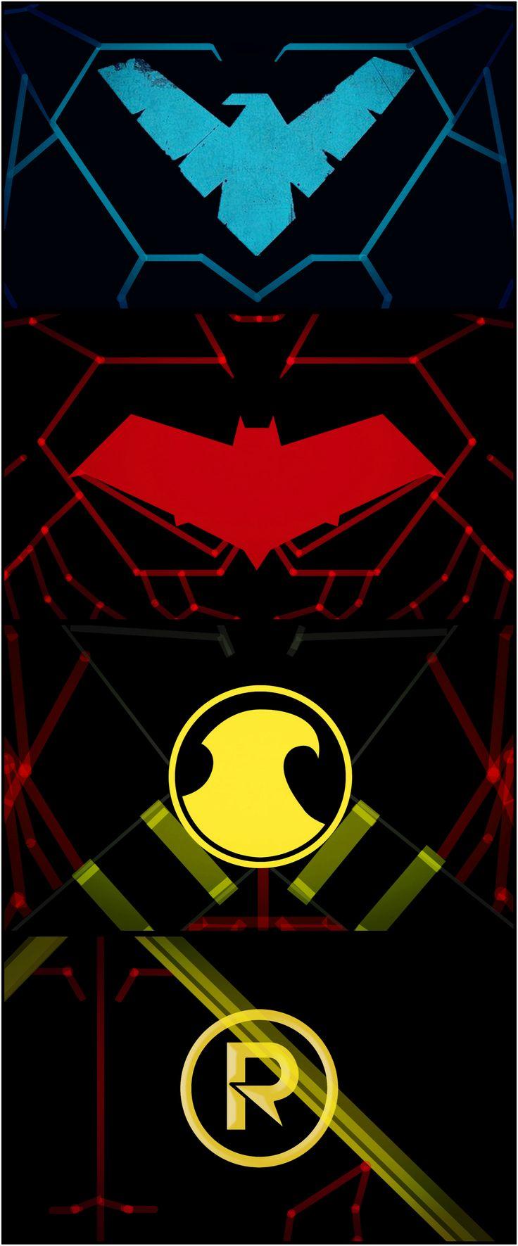 Bats' Robins  logo   SUIT UP!!! Nightwing Red Hood Red Robin Damian Wayne Robin