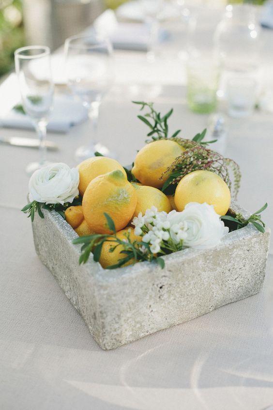 spring lemon wedding centerpiece / http://www.deerpearlflowers.com/fruit-wedding-ideas/4/