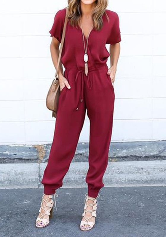 Wine Red Plain Pockets Drawstring Mid-rise Casual Long Jumpsuit